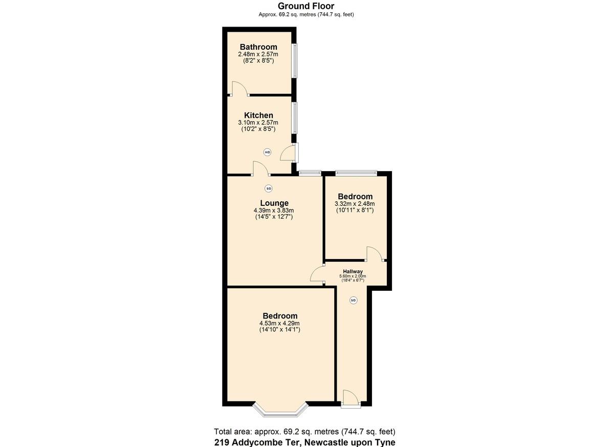 2 bed flat to rent in Addycombe Terrace, Heaton - Property Floorplan