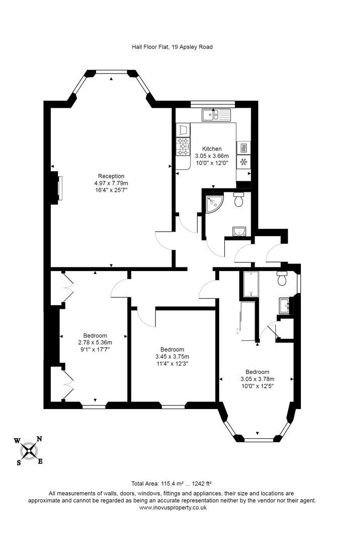 3 bed flat for sale in Apsley Road, Bristol - Property Floorplan