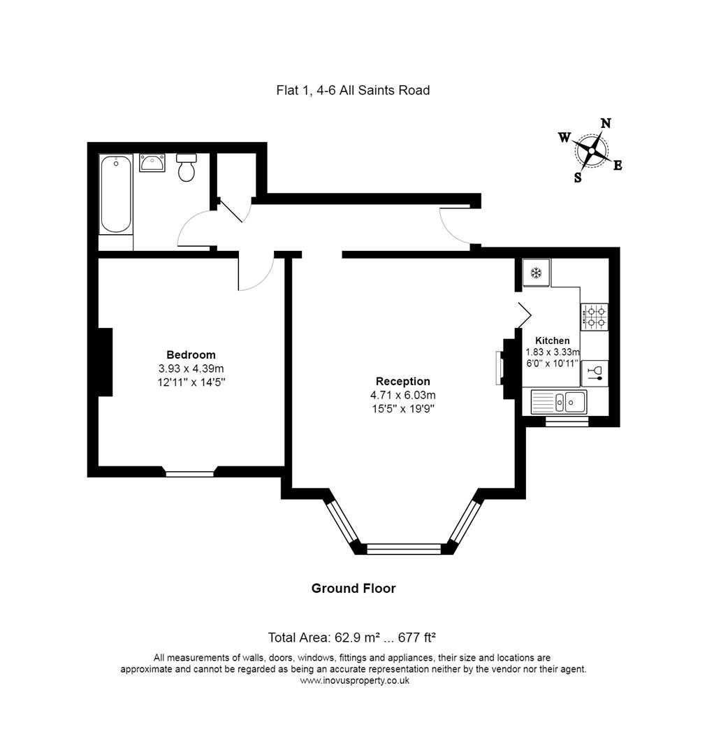 1 bed flat for sale in 4 - 6 All Saints Road, Bristol - Property Floorplan