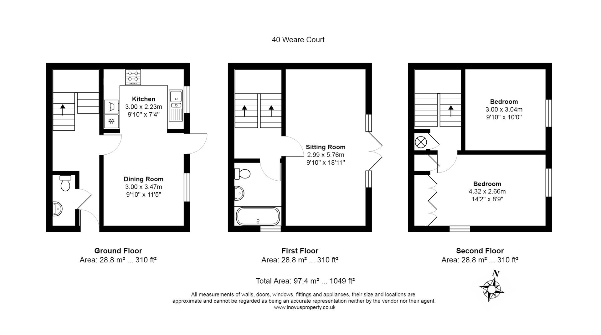 2 bed house for sale in Canada Way, Bristol - Property Floorplan