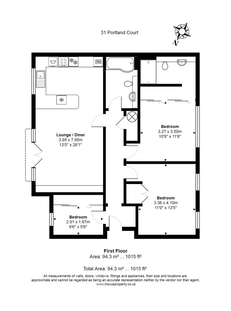 3 bed flat for sale in Portland Court, Cumberland Close, Bristol - Property Floorplan