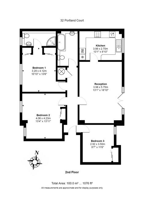 3 bed flat for sale in Portland Court, Cumberland Close, Bristol - Property Floorplan