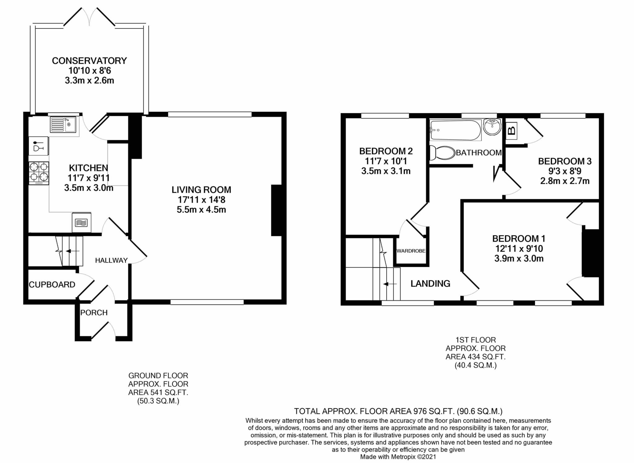 3 bed terraced house for sale in Churchill Close, Sturminster Marshall, Wimborne - Property Floorplan