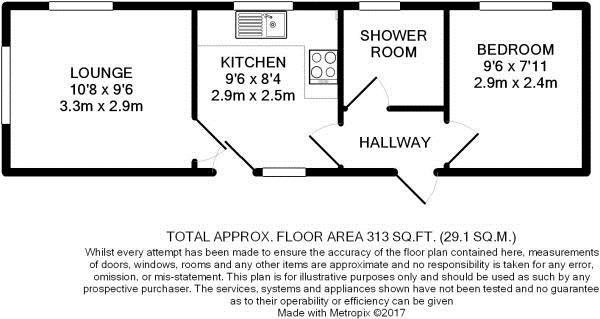 1 bed park home for sale in Ashley Wood Park, Tarrant Keyneston, Blandford Forum - Property Floorplan
