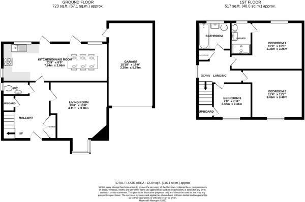 3 bed link detached house for sale in Charlton Mead, Charlton Marshall, Blandford Forum - Property Floorplan