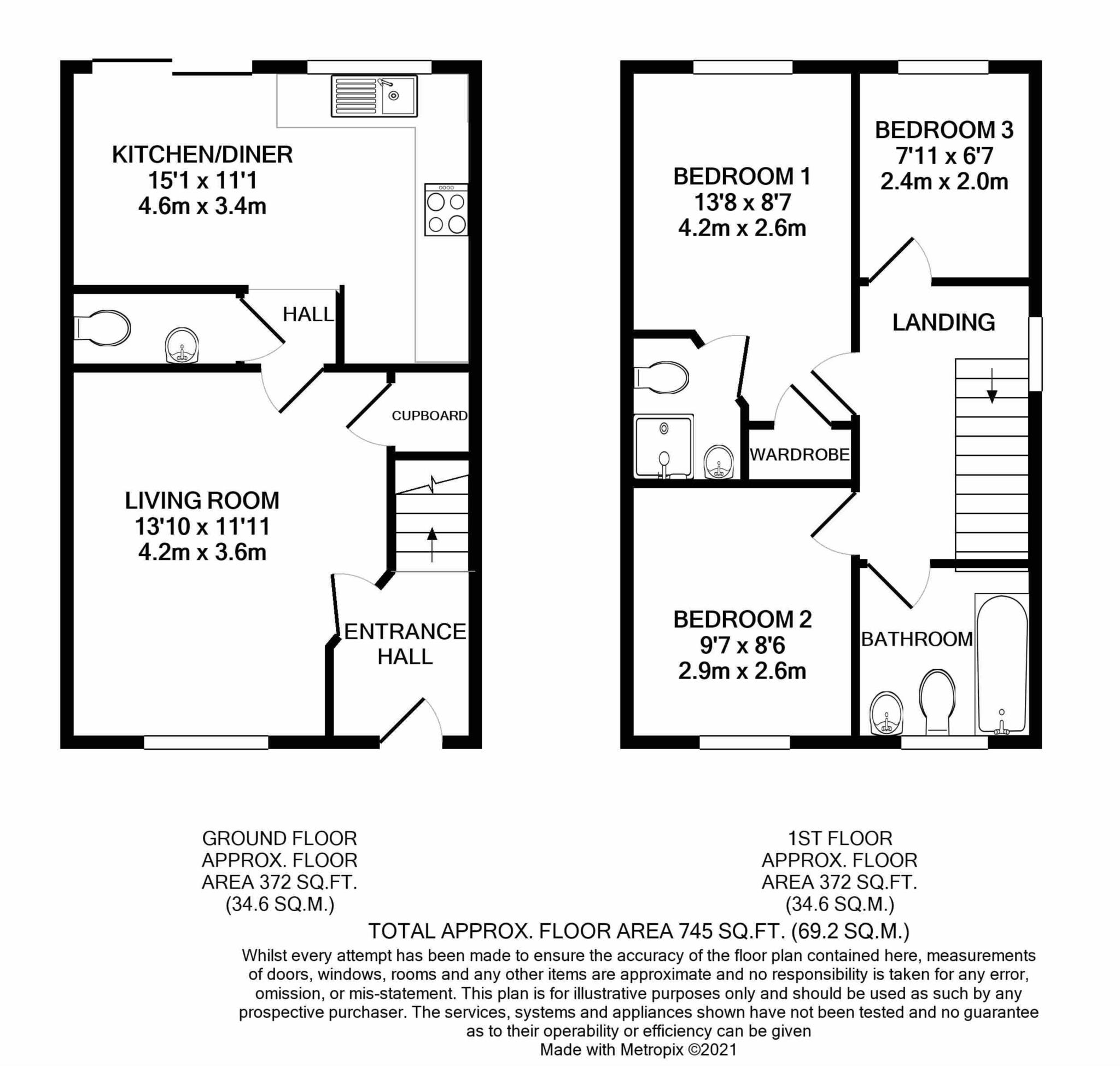 3 bed end of terrace house to rent in Chivrick Close, Sturminster Newton - Property Floorplan