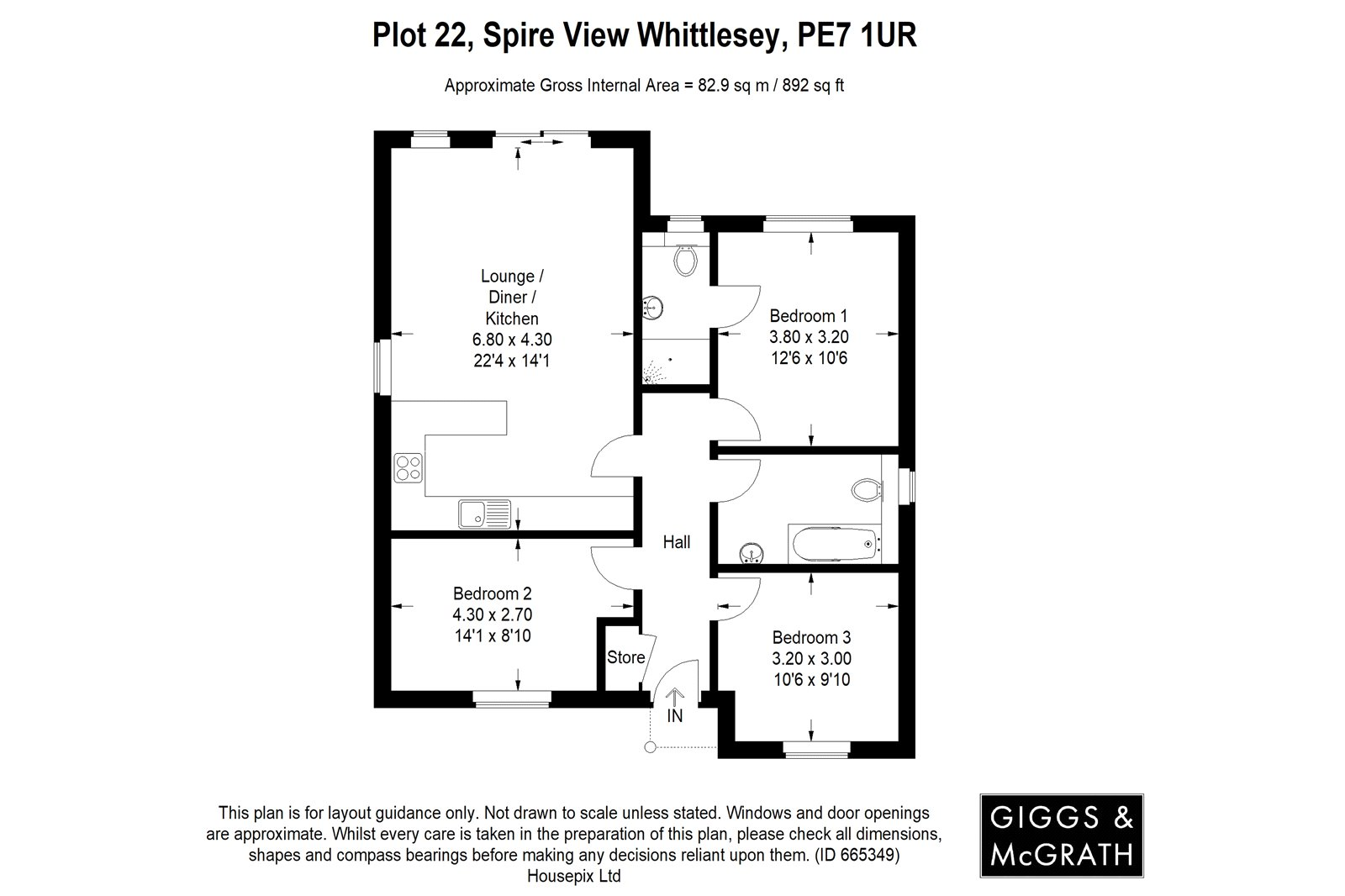 3 bed bungalow for sale in Whittlesey, PE7 1RU - Property Floorplan