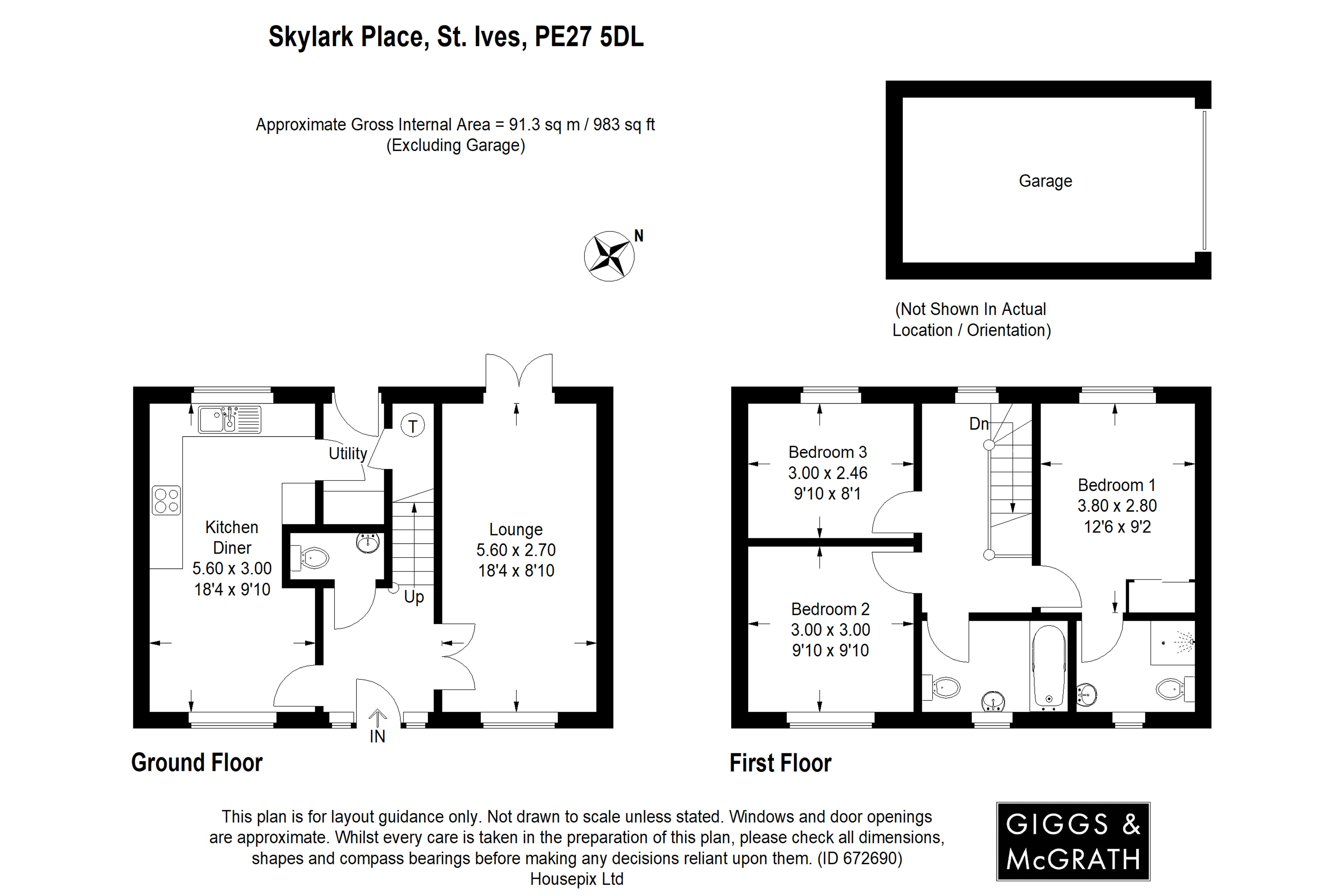 3 bed house for sale in St. Ives, PE27 5DL - Property Floorplan