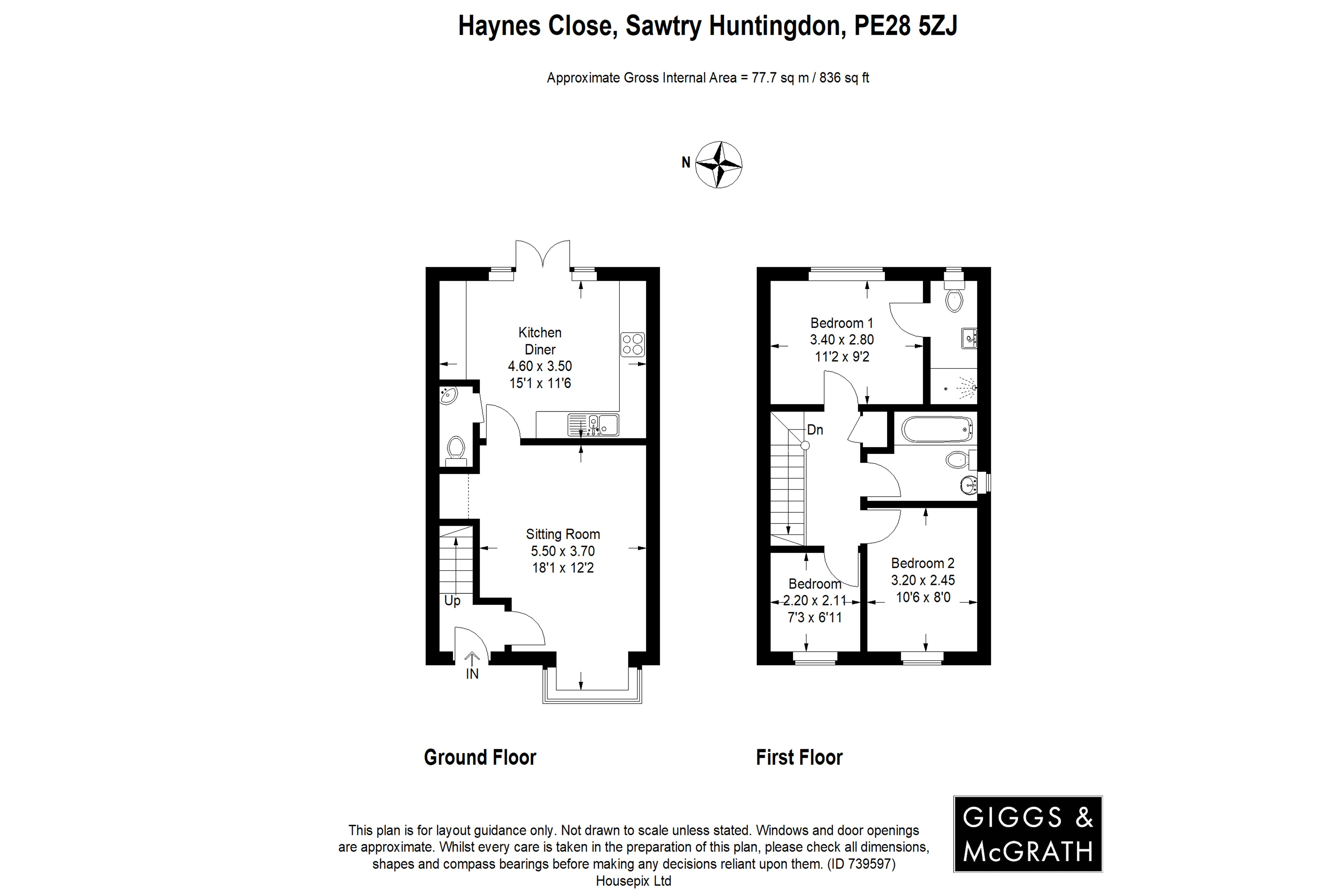 3 bed house for sale in Sawtry, PE28 5ZJ - Property Floorplan
