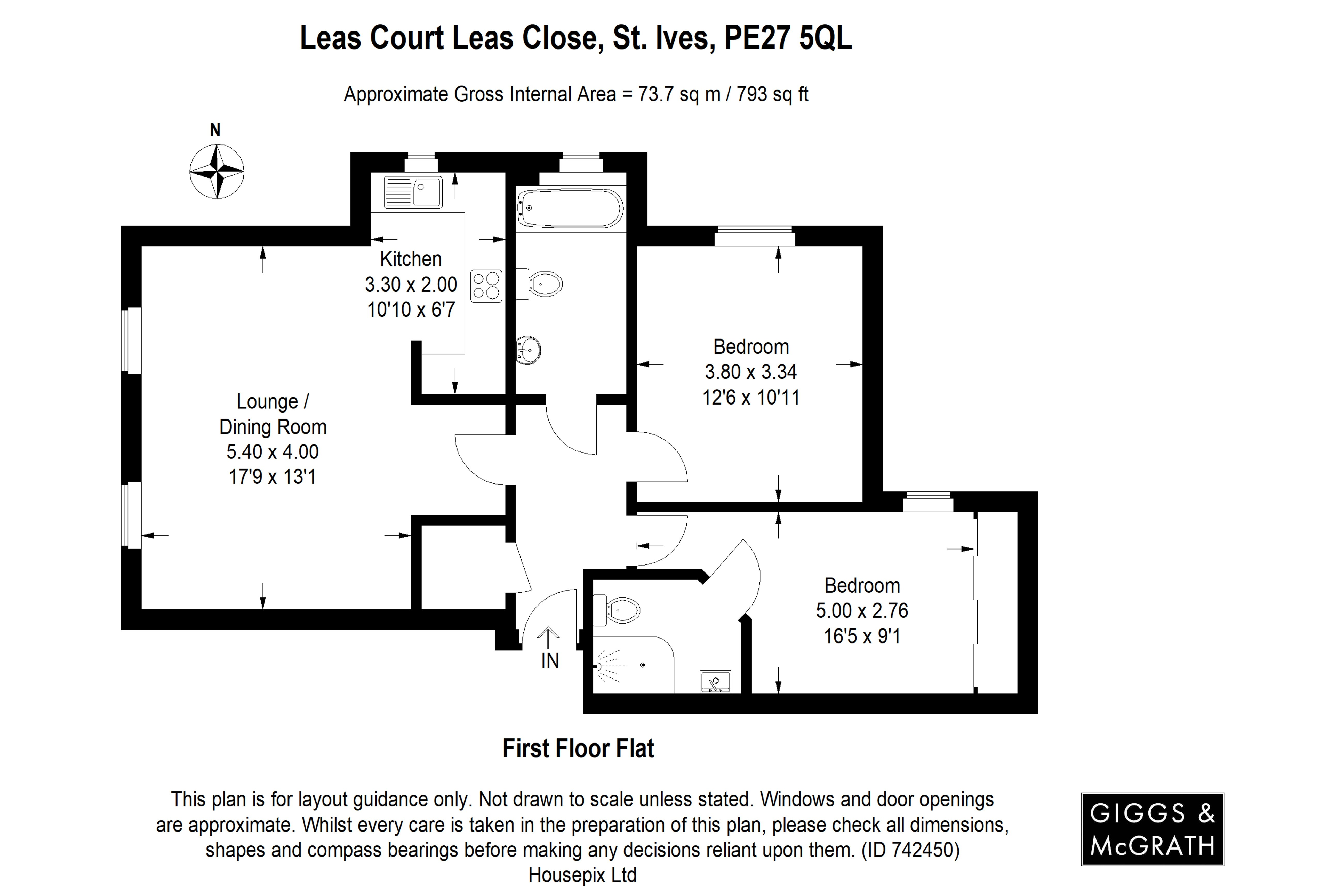 2 bed apartment for sale in St. Ives, PE27 5QL - Property Floorplan
