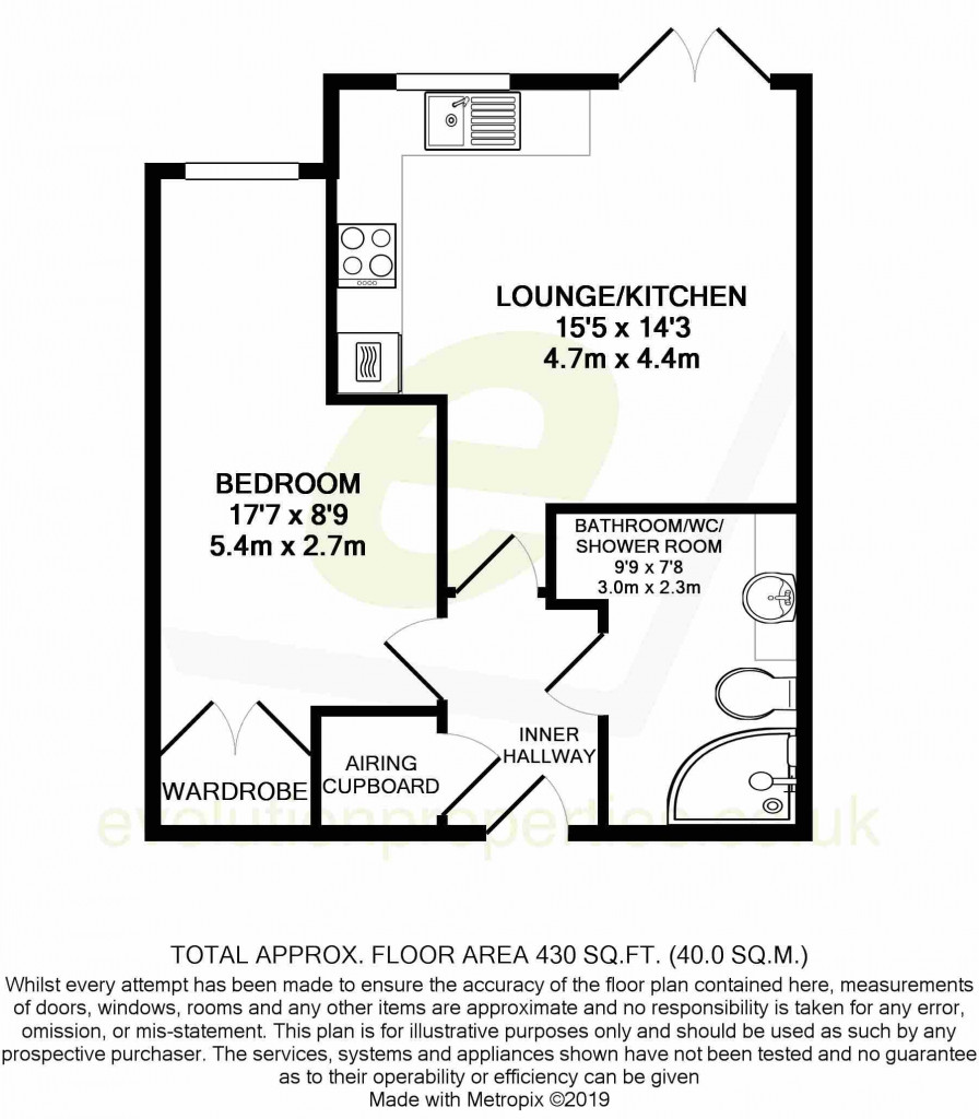 1 bed retirement property to rent in Windsor Court, Hoxton Close, Ashford - Property Floorplan