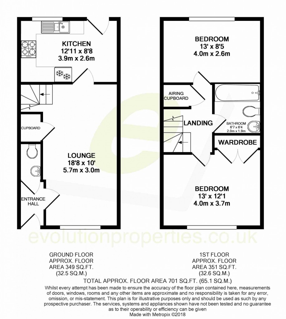 2 bed terraced house for sale in Bryony Drive, Park Farm, Ashford - Property Floorplan