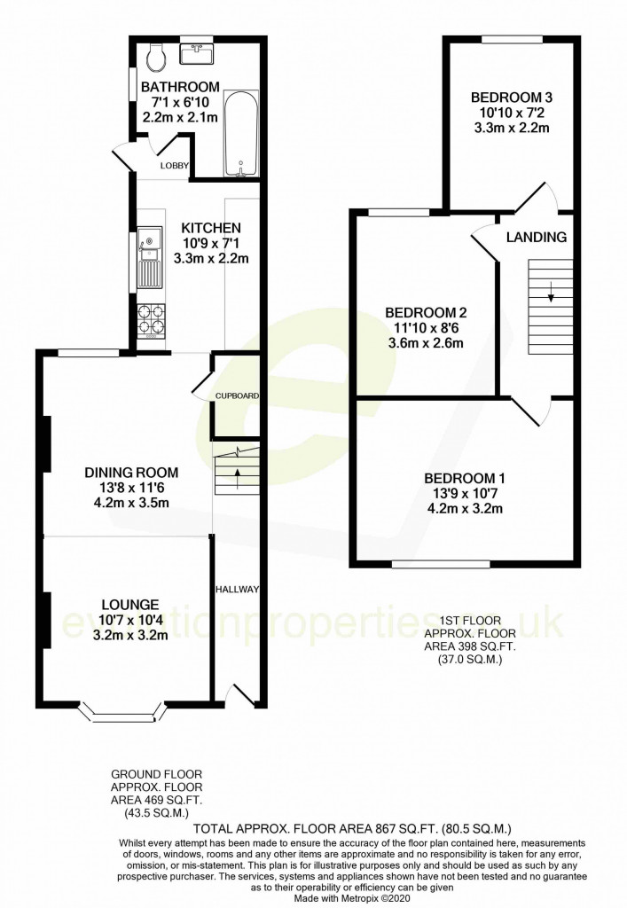 3 bed terraced house for sale in Curtis Road, Ashford - Property Floorplan