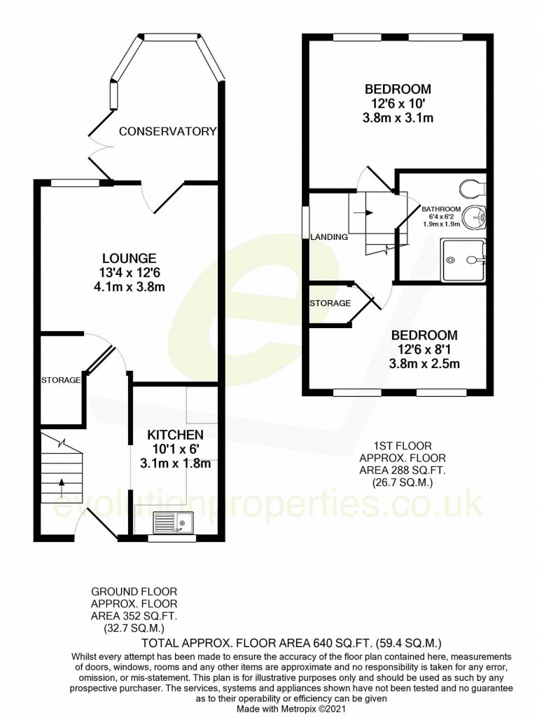 2 bed terraced house for sale in Park Wood Close, Ashford - Property Floorplan
