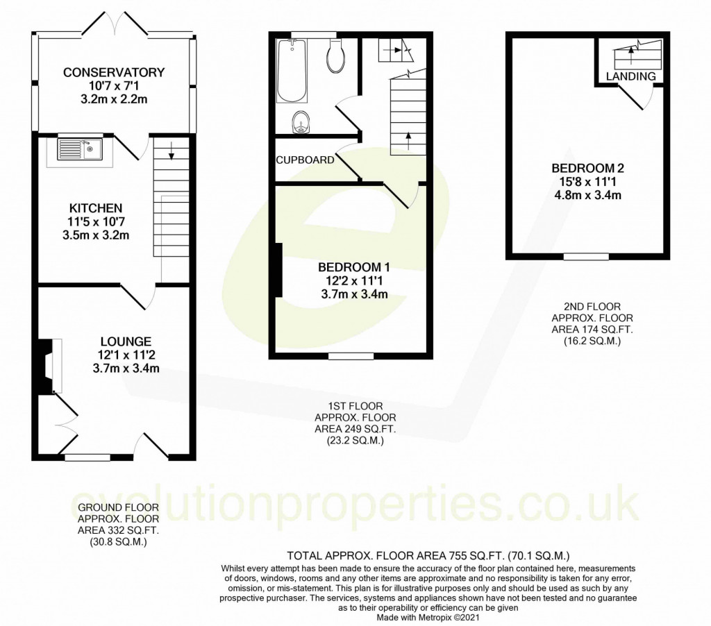 2 bed end of terrace house for sale in The Square , Upper Street, Leeds, Maidstone - Property Floorplan