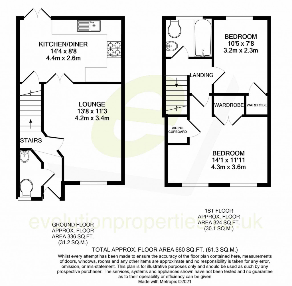2 bed terraced house for sale in Tattershall Road, Maidstone - Property Floorplan