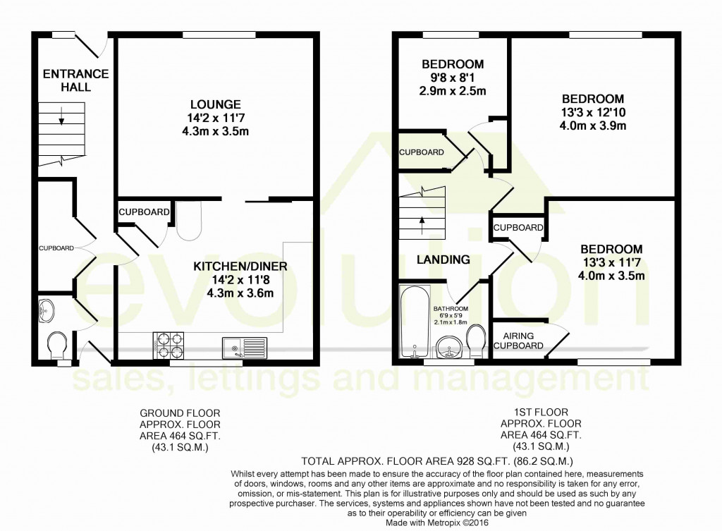 3 bed end of terrace house for sale in Brenchley Close, Ashford - Property Floorplan