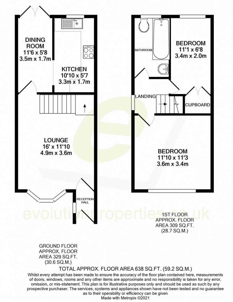 2 bed semi-detached house for sale in Manor House Drive, Ashford - Property Floorplan