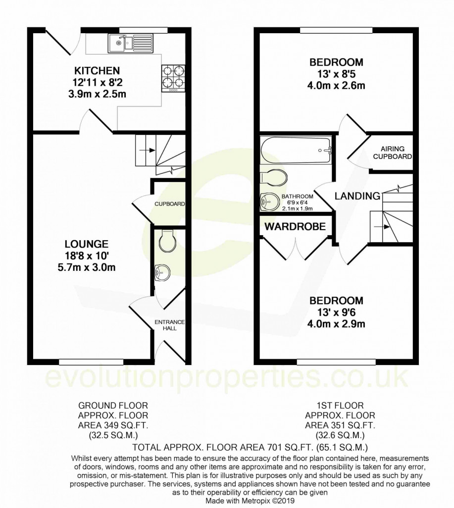 2 bed terraced house for sale in Bryony Drive, Ashford - Property Floorplan