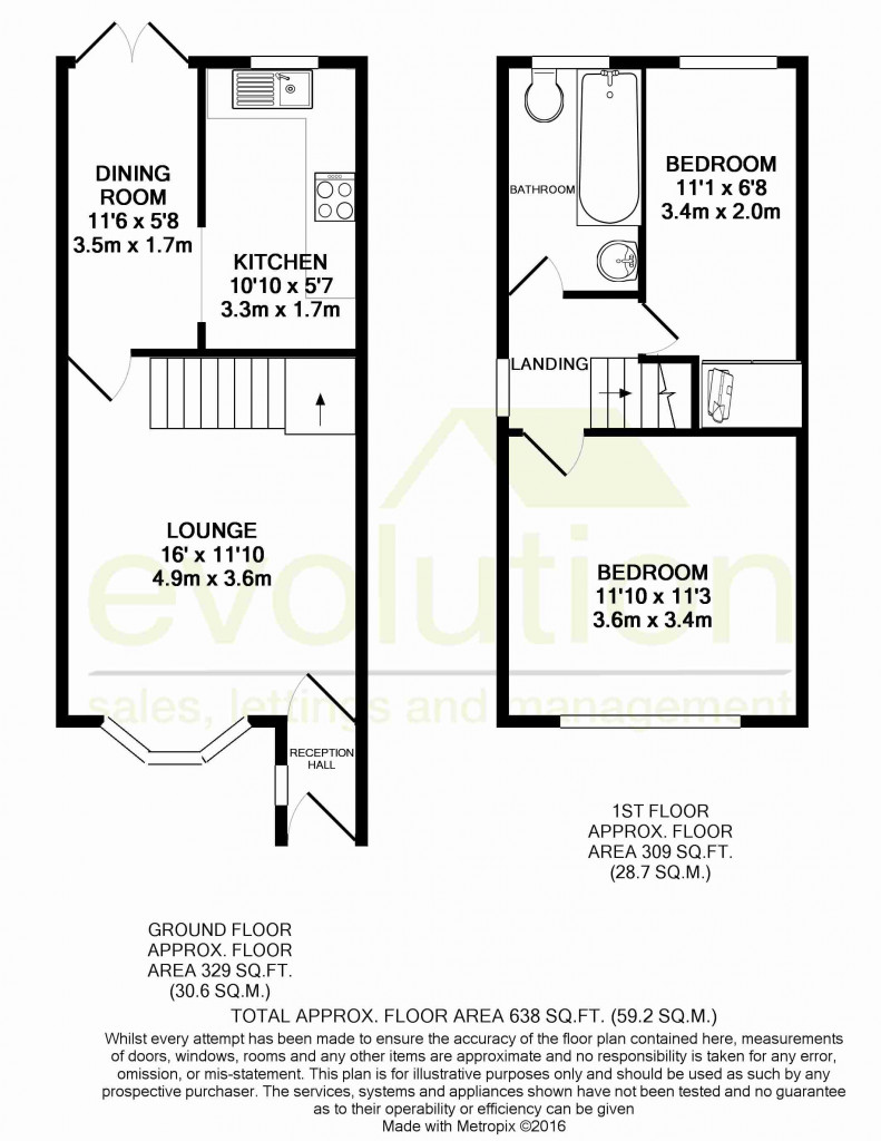 2 bed end of terrace house for sale in Manor House Drive, Kingsnorth, Ashford - Property Floorplan