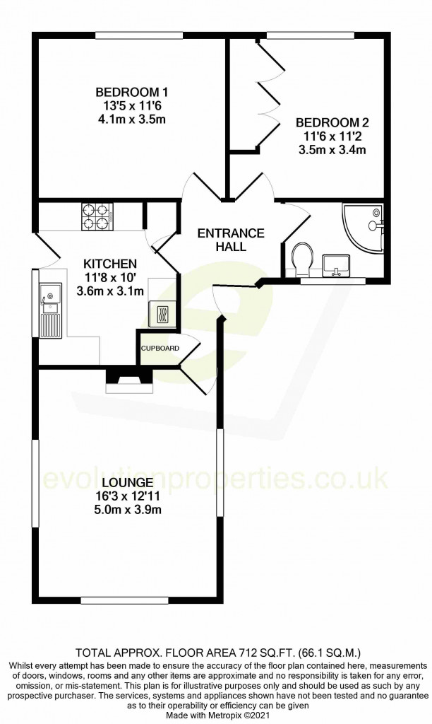 2 bed bungalow for sale in Barrow Hill Rise, Sellindge - Property Floorplan