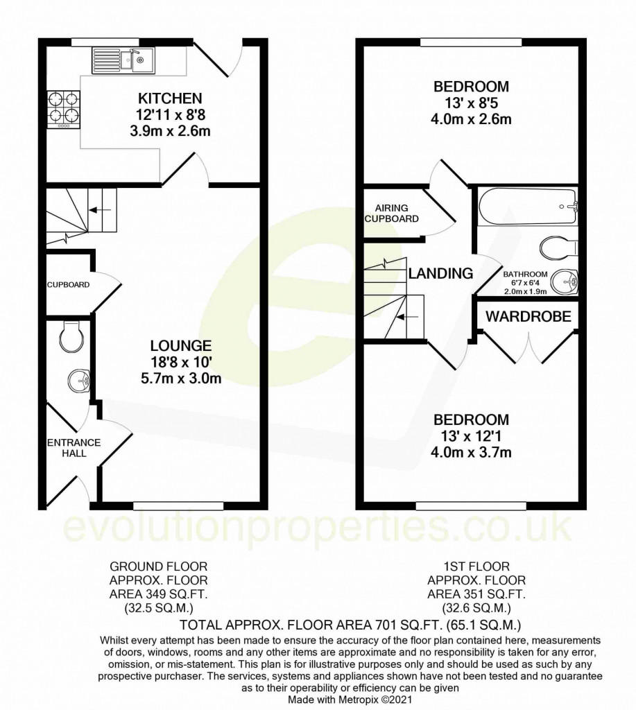 2 bed terraced house for sale in Chaffinch Drive, Ashford - Property Floorplan
