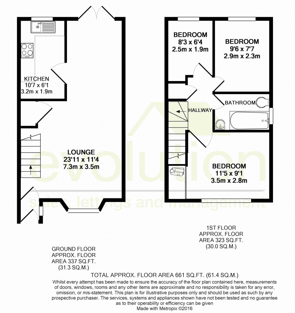 3 bed semi-detached house for sale in Manor House Drive, Kingsnorth, Ashford - Property Floorplan
