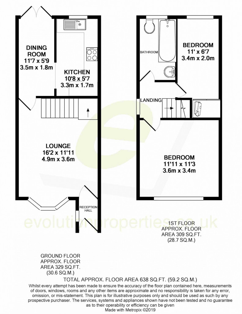 2 bed terraced house for sale in Manor House Drive, Kingsnorth, Ashford - Property Floorplan