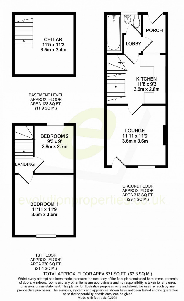 2 bed terraced house for sale in Loose Road, Maidstone - Property Floorplan