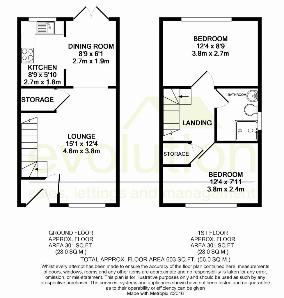 2 bed semi-detached house for sale in New Rectory Lane, Kingsnorth, Ashford - Property Floorplan