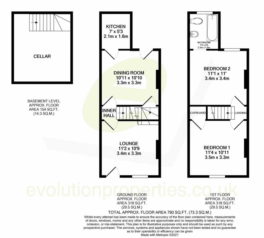 2 bed terraced house for sale in Queens Road, Maidstone - Property Floorplan