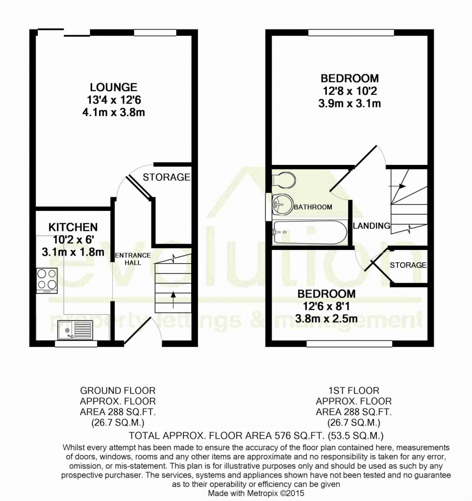 2 bed end of terrace house for sale in Park Wood Close, Park Farm, Ashford - Property Floorplan