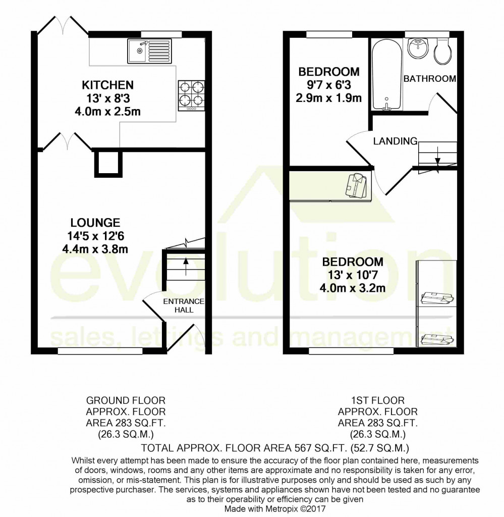 2 bed end of terrace house for sale in Duckworth Close, Willesborough, Ashford - Property Floorplan