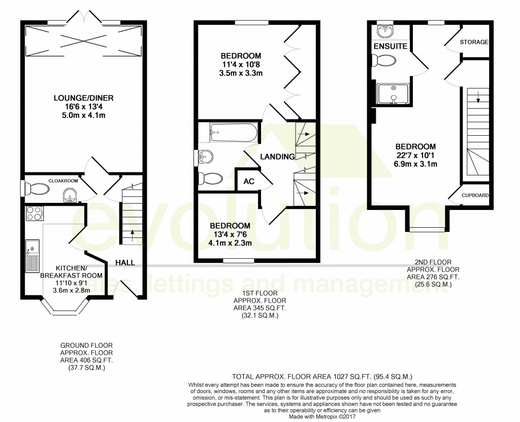 3 bed end of terrace house for sale in Octavian Way, Kingsnorth, Ashford - Property Floorplan