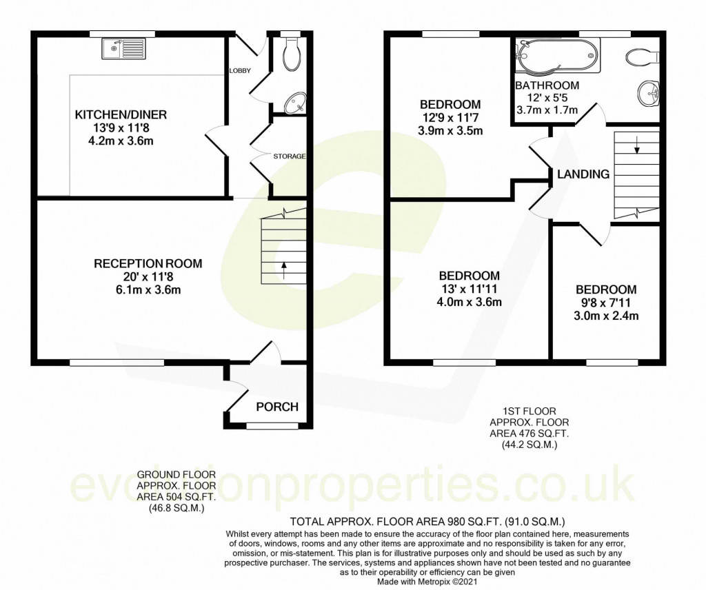 3 bed end of terrace house for sale in Newenden Close, Ashford - Property Floorplan