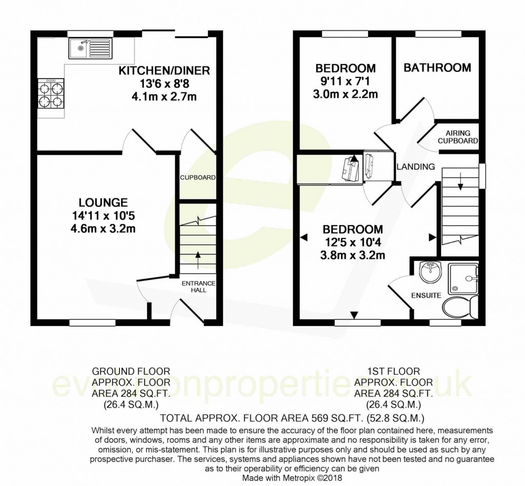 2 bed terraced house for sale in Smithy Drive, Kingsnorth, Ashford - Property Floorplan