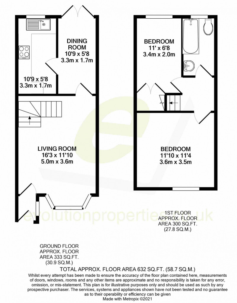 2 bed semi-detached house for sale in Manor House Drive, Park Farm, Ashford - Property Floorplan