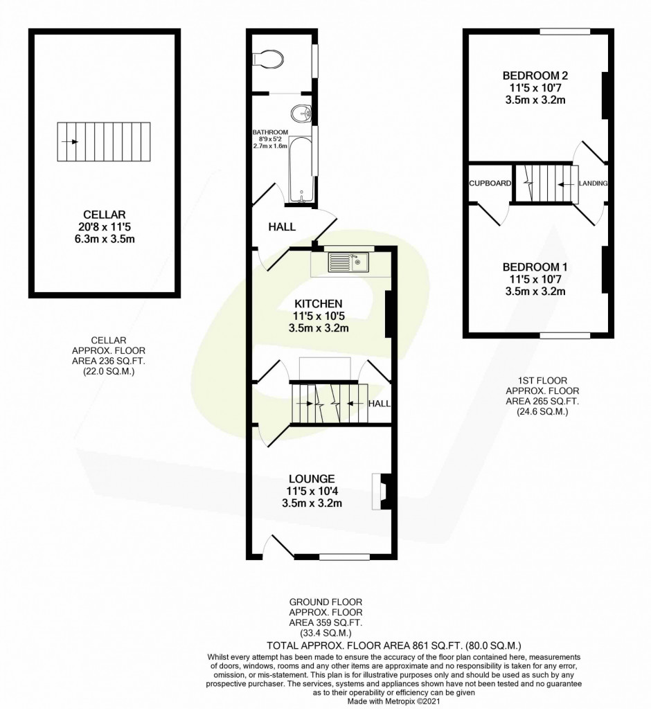 2 bed terraced house for sale in Grecian Street, Maidstone - Property Floorplan