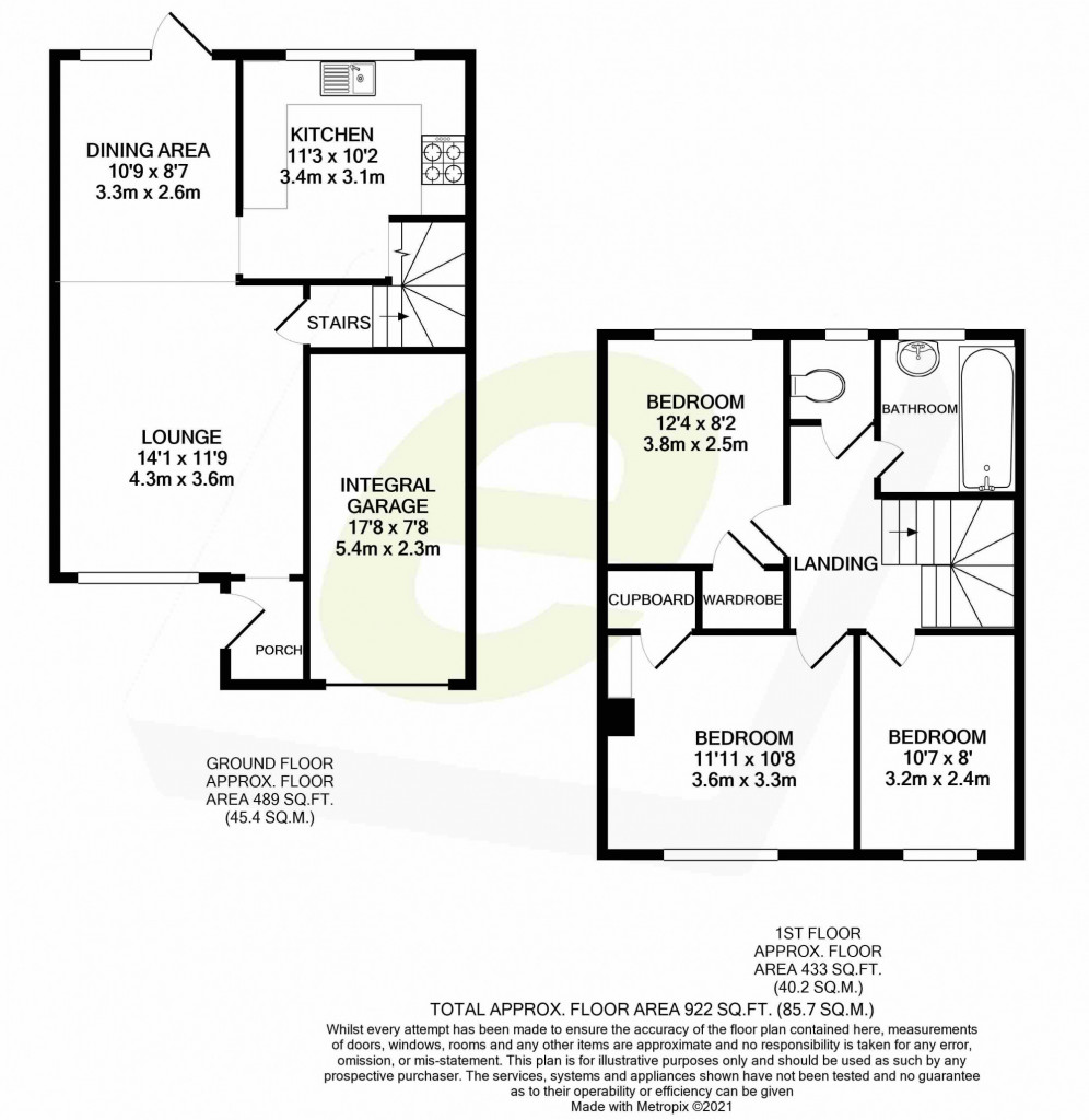 3 bed end of terrace house for sale in Mead Road, Willesborough, Ashford - Property Floorplan