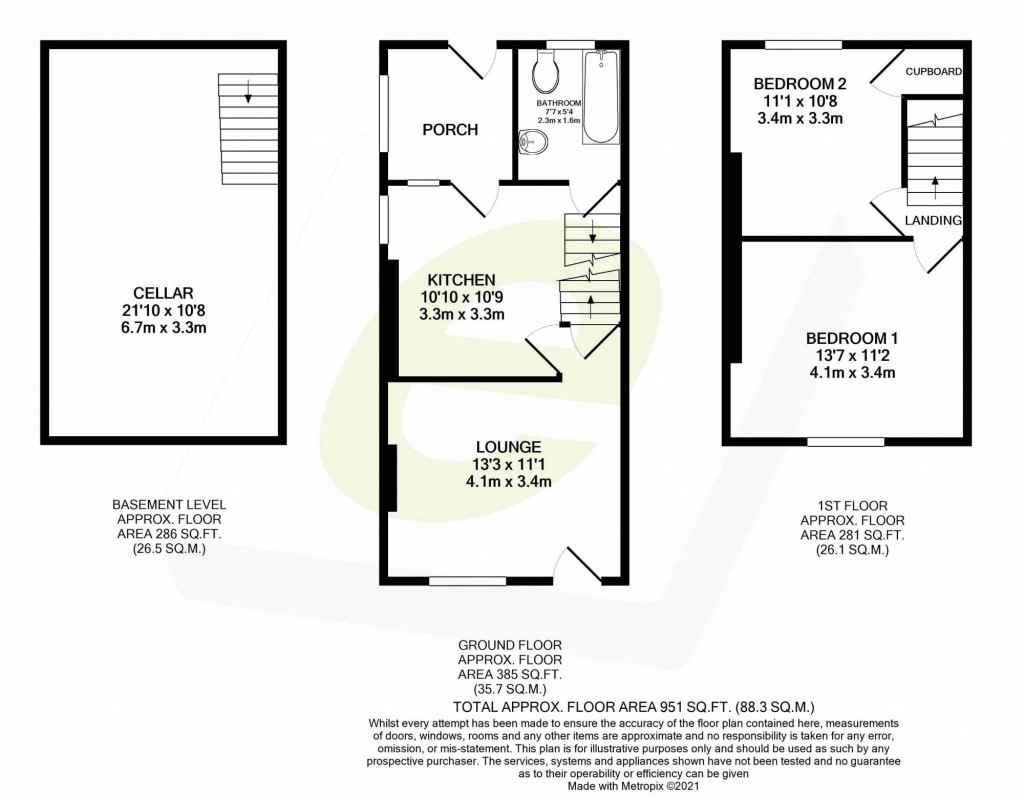 2 bed terraced house for sale in Lower Boxley Road, Maidstone - Property Floorplan