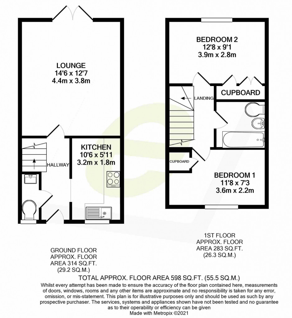 2 bed terraced house for sale in Lacock Gardens, Maidstone - Property Floorplan