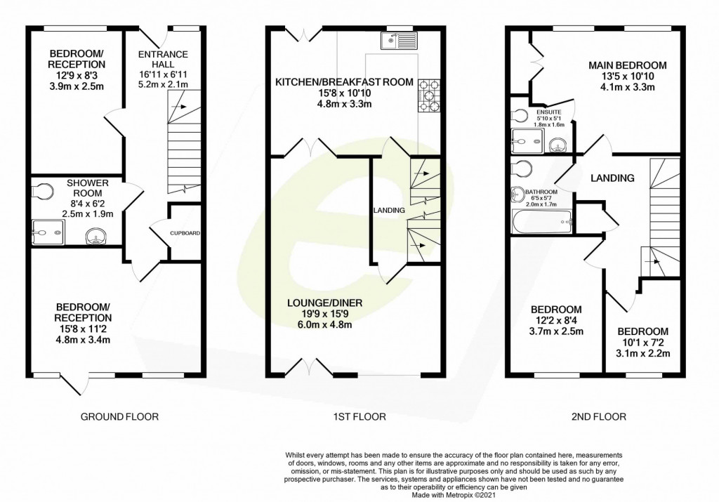 5 bed terraced house for sale in Bryony Drive, Park Farm, Ashford - Property Floorplan