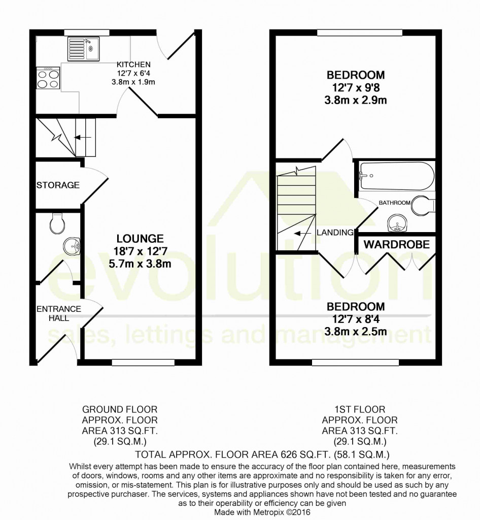 2 bed terraced house for sale in Bryony Drive, Kingsnorth, Ashford - Property Floorplan