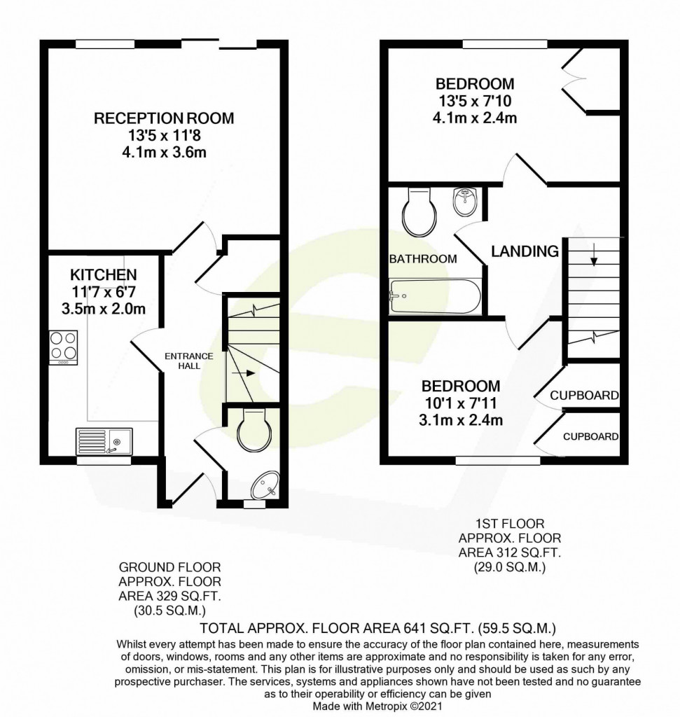 2 bed terraced house for sale in Corben Close, Maidstone - Property Floorplan