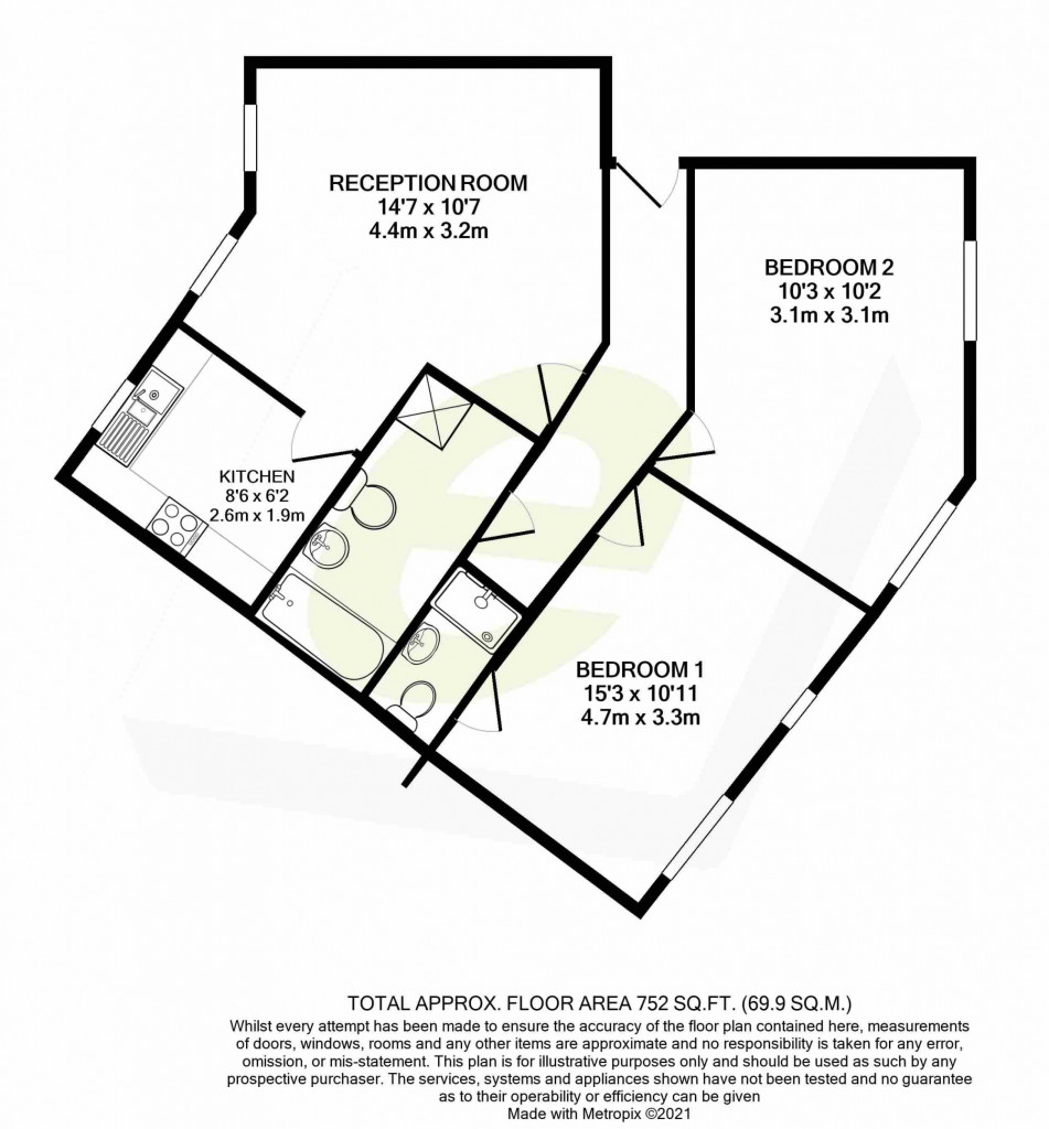 2 bed apartment for sale in Richard Hillary Close, Ashford - Property Floorplan