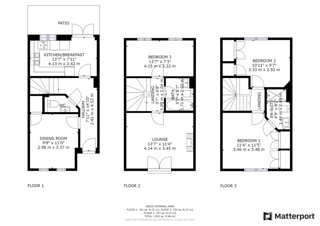 3 bed terraced house to rent in Mill Court, Ashford - Property Floorplan