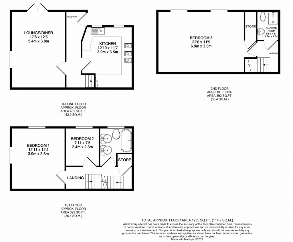 3 bed end of terrace house for sale in Falcon Way, Ashford - Property Floorplan