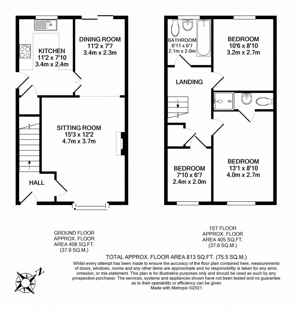 3 bed detached house to rent in Grantley Close, Ashford - Property Floorplan