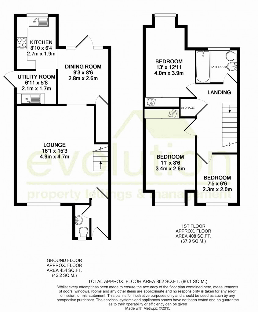 3 bed detached house to rent in Hawthorn Road, Kingsnorth, Ashford - Property Floorplan