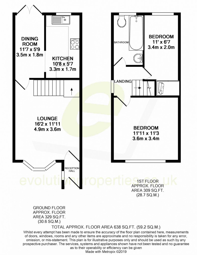 2 bed semi-detached house to rent in Manor House Drive, Ashford - Property Floorplan